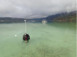 Inventaire des sites palaffitiques au Lac d'Aiguebelette - oct16 © R.Brigand-DRASSM Eveha