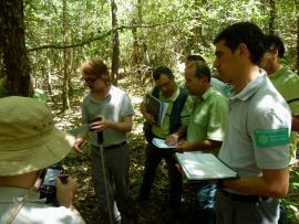 Initiation au protocole de suivi dendrométrique des réserves forestières, RNN du Courant d'Huchet - © S. Darblade