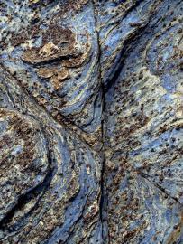 Grenats dans les glaucophanites - © R.-P. Bolan / Bretagne Vivante